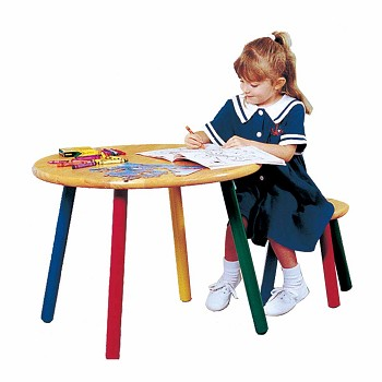 Childrens Hardwood Table and Stool Colorful Painted Legs